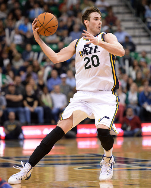 Steve Griffin  |  The Salt Lake Tribune   Utah Jazz shooting guard Gordon Hayward #20 looks to pass during second half action in the Jazz versus New Orleans Pelicans basketball game at EnergySolutions Arena in Salt Lake City, Utah Thursday, November 14, 2013.
