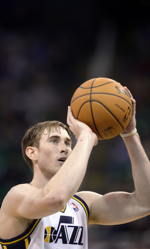 Steve Griffin  |  The Salt Lake Tribune   Utah Jazz shooting guard Gordon Hayward #20 lines up a free throw during second half action in the Jazz versus New Orleans Pelicans basketball game at EnergySolutions Arena in Salt Lake City, Utah Thursday, November 14, 2013.