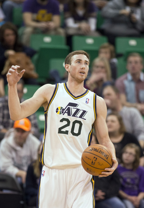 Lennie Mahler  |  The Salt Lake Tribune Utah Jazz guard Gordon Hayward slaps the ball in frustration with a call in the first half of a game Saturday, Feb. 22, 2014, in Salt Lake City.