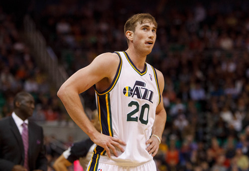 Trent Nelson  |  The Salt Lake Tribune Utah Jazz guard Gordon Hayward (20) reacts to a foul as the Utah Jazz host the Oklahoma City Thunder, NBA Basketball at EnergySolutions Arena in Salt Lake City, Wednesday October 30, 2013.