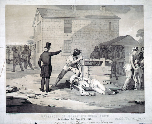 "Courtesy Library of Congress ""Martyrdom of Joseph and Hiram Smith in Carthage Jail, June 27th, 1844"" lithograph by artist C.G. Crehen. Hyrum Smith's name is misspelled in the title of the piece."