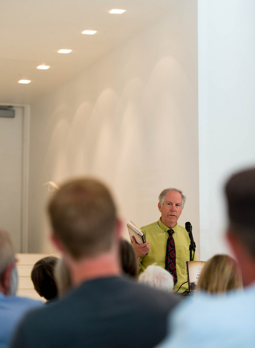"""Trent Nelson     The Salt Lake Tribune Alex Beam, a Boston Globe columnist, reads from his book, """"American Crucifixion,"""" about the murder of Mormon founder Joseph Smith, during an appearance at King's English in Salt Lake City, Wednesday June 11, 2014."""