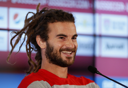 United States' Kyle Beckerman talks during a press conference before a training session in Sao Paulo, Brazil, Thursday, June 19, 2014.  The United States will play against Portugal in group G of the 2014 soccer World Cup on June 22. (AP Photo/Julio Cortez)