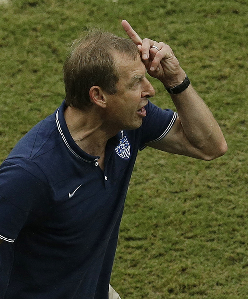 United States' head coach Juergen Klinsmann yells during the group G World Cup soccer match between the USA and Germany at the Arena Pernambuco in Recife, Brazil, Thursday, June 26, 2014. (AP Photo/Hassan Ammar)