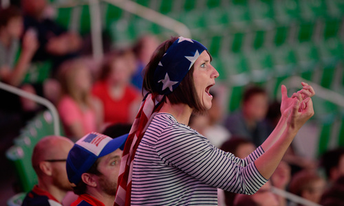 Francisco Kjolseth     The Salt Lake Tribune Kristen Clifford cheers on team screams at the screen during a missed opportunity as an estimated 4000 fans crowd into Energy Solutions Arena for some World Cup action on the 42 by 24 feet long twin high definition screens to cheer on team U.S.A. against Germany on Thursday, June 26, 2014.