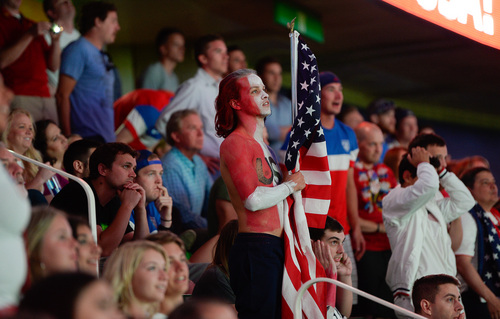 Francisco Kjolseth     The Salt Lake Tribune Michael Luebke shows his support for team U.S.A as an estimated 4000 fans crowd into Energy Solutions Arena for some World Cup action on the 42 by 24 feet long twin high definition screens to cheer on team U.S.A. against Germany on Thursday, June 26, 2014.