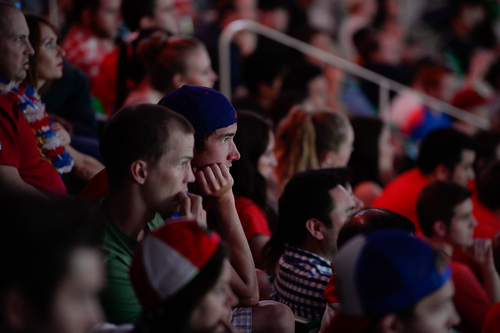 Francisco Kjolseth     The Salt Lake Tribune An estimated 4000 fans crowd into Energy Solutions Arena for some World Cup action on the 42 by 24 feet long twin high definition screens to cheer on team U.S.A. against Germany on Thursday, June 26, 2014.