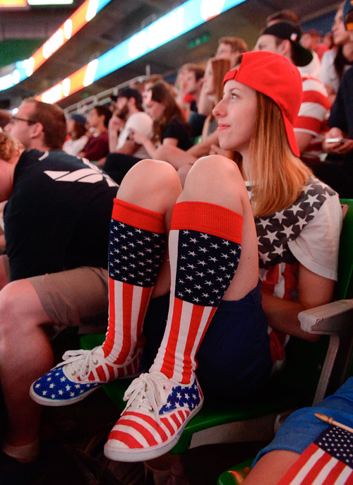 Francisco Kjolseth     The Salt Lake Tribune Erin Ulibarri of Ogden piles on the red, white and blue as an estimated 4000 fans crowd into Energy Solutions Arena for some World Cup action on the 42 by 24 feet long twin high definition screens to cheer on team U.S.A. against Germany on Thursday, June 26, 2014.