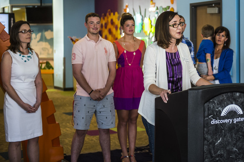 Chris Detrick  |  The Salt Lake Tribune Brandie Balken, executive director of Equality Utah, speaks at Discovery Gateway Children's Museum Thursday May 29, 2014. Utah Unites for Marriage, Discovery Gateway Childrenís Museum and Equality Utah hosted a free night at the museum to give parents and kids an entertaining evening to celebrate all families.