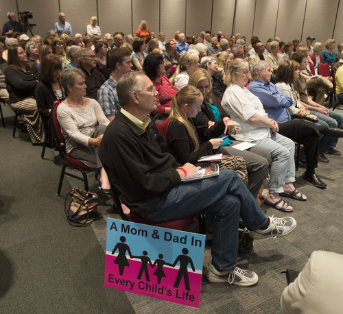 Steve Griffin  |  The Salt Lake Tribune   Audience members listen to, Cherilyn Eagar, president of the American Leadership Fund, as she speaks during a rally and informal meeting in opposition to the same-sex marriage 10th Circuit Court decision. The event is co-sponsored by United Women's Forum, Worldwide Organization of Women and the Utah Eagle Forum. The meeting was held at the Larry H. Miller Campus of the Salt Lake Community College  in Sandy, Utah Thursday, June 26, 2014.