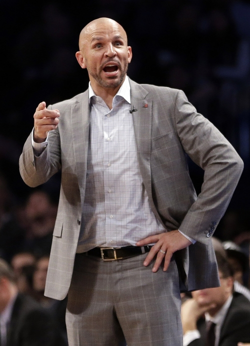 In this Friday, April 25, 2014, file photo, Brooklyn Nets coach Jason Kidd gestures to his team during the second half of Game 3 of an NBA basketball first-round playoff series against the Toronto Raptors, in New York. Kidd is talking to the Milwaukee Bucks about a position after losing his bid for front-office power with the Nets, a person with knowledge of the details said Saturday, June 28, 2014. (AP Photo/Frank Franklin II, File)