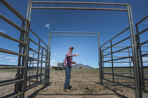 Rick Egan  |  The Salt Lake Tribune  Iron County Commissioner David Miller  talks about the water corral, intended to attract and trap wild horses, on private land northwest of Cedar City, Wednesday, April 23, 2014.