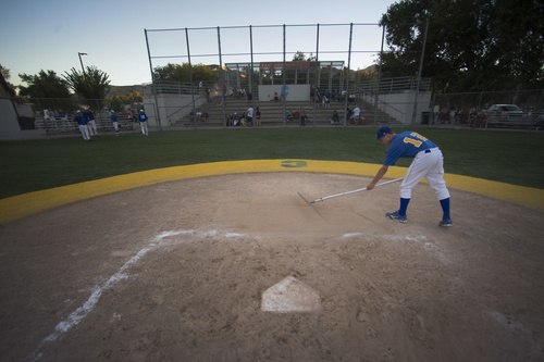 Rick Egan  |  The Salt Lake Tribune  Cyprus player, Dylan Herzon, 14, works on the field, after a game between Tooele and Cyprus, at Utah Copper Park in Magna, Monday, June 30, 2014