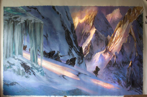 Donato Giancola's FantasyCon Masterwork. Title – Descent from Caradhras. This is believed to the largest Tolkien-themed painting -- 6 x 10 feet. Courtesy  |  FantasyCon