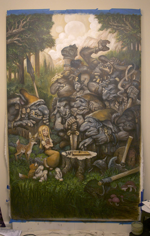 "Justin Gerard's painting ""The Chess Match,"" which measures 4 x 6 feet. Courtesy  