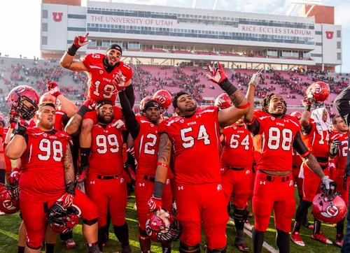 "Trent Nelson  |  The Salt Lake Tribune Utah players sing ""Utah Man"" to celebrate the victory as the University of Utah hosts Colorado, college football at Rice-Eccles Stadium in Salt Lake City, Saturday November 30, 2013."