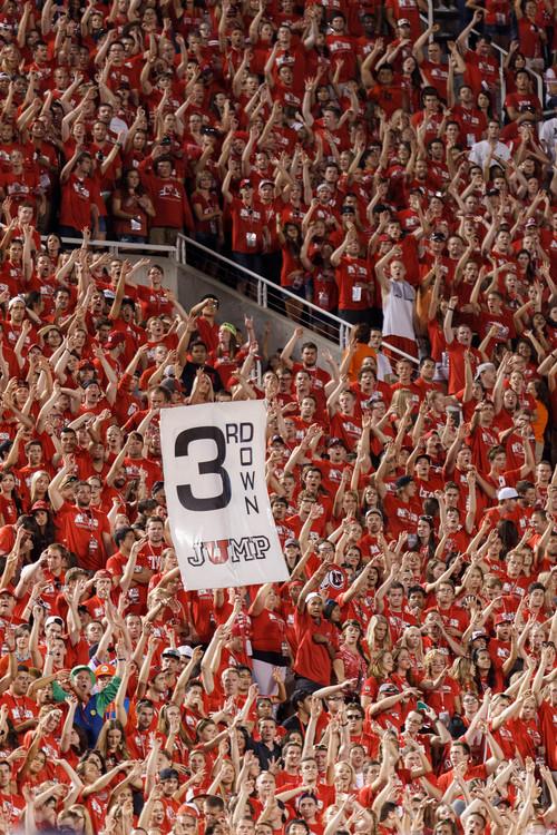 Trent Nelson  |  The Salt Lake Tribune Utah fans in the MUSS as the University of Utah hosts Utah State, college football Thursday, August 29, 2013 at Rice-Eccles Stadium in Salt Lake City.