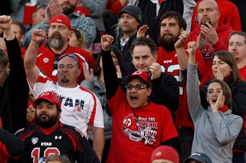 Trent Nelson  |  The Salt Lake Tribune Utah fans, as the University of Utah hosts Arizona State, college football at Rice-Eccles Stadium in Salt Lake City, Saturday November 9, 2013.
