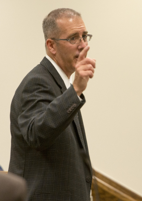 Rick Egan  |  The Salt Lake Tribune  Prosecutor, Dave Sturgill gives his opening arguments, during the forcible sexual abuse trial for Martin MacNeill, in 4th District Judge Samuel McVey's courtroom, in Provo, Wednesday, July 2, 2014