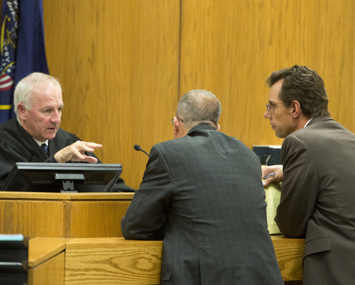 Rick Egan  |  The Salt Lake Tribune  Judge Samuel McVey talks to Defense attorney, Randy Spencer (center) and Prosecutor, Dave Sturgill  (right) during the trial for Martin MacNeill on forcible sexual abuse, in 4th District 's courtroom, in Provo, Wednesday, July 2, 2014