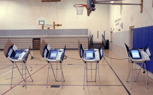 Al Hartmann     The Salt Lake Tribune I Voting booths at St. Anne's School in Salt Lake City are empty Tuesday morning June 24.  Only one person checked in between 7 a.m. and 9:30 a.m.  Other polling stations this morning reported very low turnout for the primary vote.