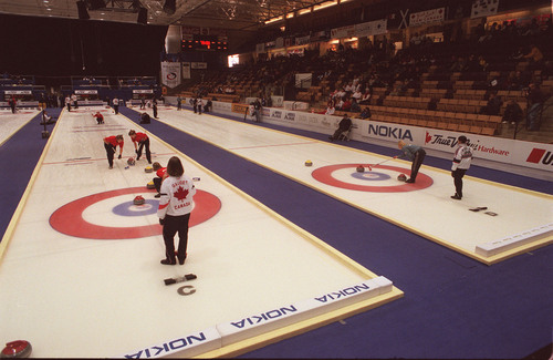 Curling at The Ice Sheet in Ogden during an international compation.  photo by Ryan Galbraith. 03/22/2001