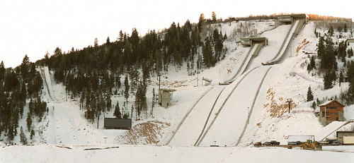 Ski jumps at the Utah Olympic Park. photo by Trent Nelson. 01/04/2001