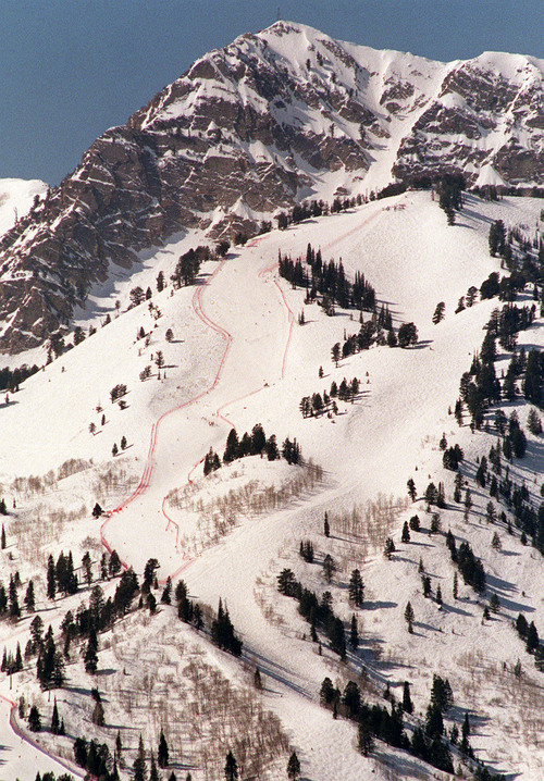 The women's downhill course at the base of Mount Ogden at the Snowbasin ski resort can be seen for miles. Griffin/photo