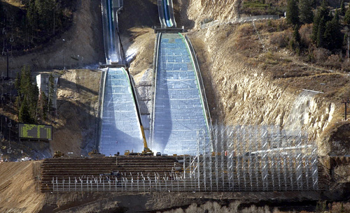 A huge scaffolding structure is being built at the bottom of the ski jumps at the Utah Olympic Park Oct. 24, 2001. The scaffolding is being built for the seating for the event. photo by Steve Griffin. 10/24/2001
