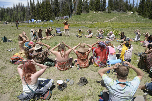 Al Hartmann  |  The Salt Lake Tribune  Sonya Sophia Illiq, (standing) teaches a group class in EFT (Emotional Freedom Technique) at the  Rainbow Family Gathering in the Uinta Mountains 15 miles northeast of Heber.  EFT is a type of  acupressure, tapping on points of the body to improve physical and mental health.