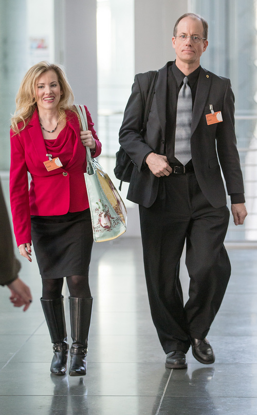 In this picture taken Thursday evening July 3, 2014, former NSA employee Thomas Drake, right, and his lawyer Jesselyn Radack arrive at the parliamentary NSAinvestigation committee   in Berlin, Germany,  German lawmakers began hearing expert testimony for a probe into the activities of foreign intelligence agencies in Germany. The inquiry was sparked by reports based on documents leaked by former NSA contractor Edward Snowden, which showed that German citizens, including Chancellor Angela Merkel, were targeted by U.S. intelligence.   (AP Photo/dpa,Hannibal Hanschke)
