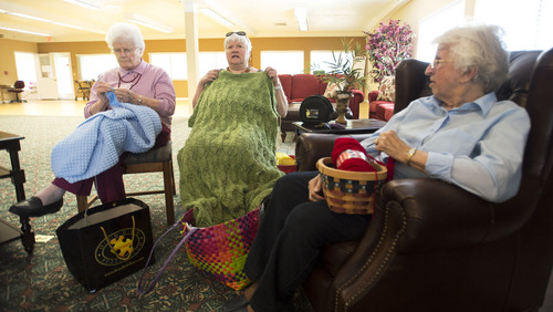 Steve Griffin  |  The Salt Lake Tribune   Raili Garrett, Mary Alice Larsen and Alice Young enjoy their knitting time every Thursday at  Highland Cove in Salt Lake City, Utah Thursday, July 3, 2014. The population of seniors in Utah (and nation) is soaring even as nursing home residency declines. Among reasons for the seemingly contradictory trend is the increasing number of alternatives for seniors -- including independent living and assisted living centers.  I