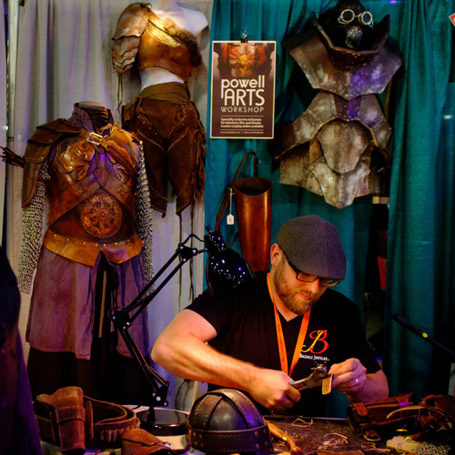 Trent Nelson  |  The Salt Lake Tribune Dave Powell, the leather worker behind costume and prop shop Powell Arts Workshop, customizes product at FantasyCon, held at the Salt Palace Convention Center in Salt Lake City, Saturday July 5, 2014.