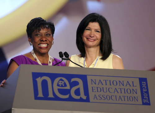 Rick Runion | NEA  Secretary-Treasurer Rebecca Pringle, left and Vice President Lily Eskelsen Garcia introduce President Dennis Van Roekel during the NEA 152nd Annual Meeting and 93rd Representative Assembly, at the Denver Convention Center, Thursday, July 3, 2014 in Denver Colorado.
