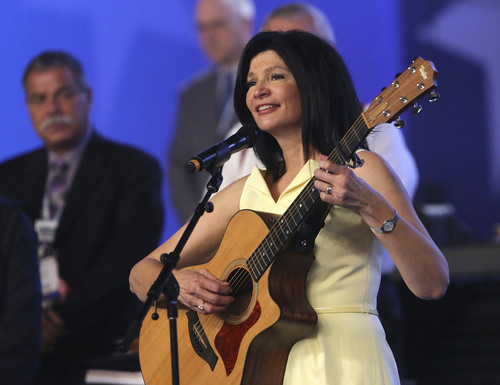 Rick Runion | NEA  Vice President Lily Eskelsen Garcia sings the National Anthem during the opening of the NEA 152nd Annual Meeting and 93rd Representative Assembly, at the Denver Convention Center, Thursday, July32, 2014 in Denver Colorado.