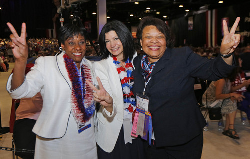 Calvin Knight | NEA Today  NEA Vice President Elect  Becky Pringle  President Elect Lily Eskelsen Garcia hugs a tearful Princes Moss after she was elected Secretary Treasurer Elect. on the RA floor after election results National Education Association's 93rd Representative Assembly at the 152nd Annual Meeting at the  Denver Convention Center,  Denver Co.  July 4nd 2014.