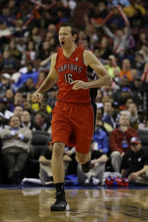 Toronto Raptors' Steve Novak in action during an NBA basketball game against the Philadelphia 76ers, Wednesday, Nov. 20, 2013, in Philadelphia. (AP Photo/Matt Slocum)