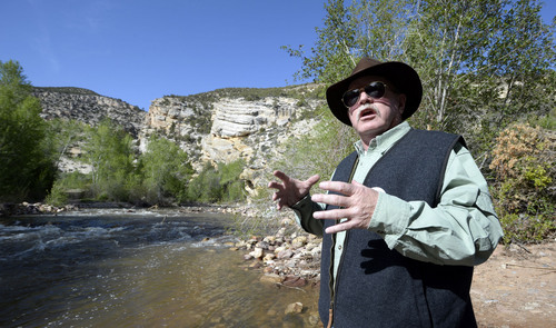 Al Hartann  |  The Salt Lake Tribune Wayne Stevens, a Utah Senate candidate from Vernal is leading the campaign to block a phosphate mine proposed on SITLA land at Ashley Springs just above the Ashley Valley Water and Sewer plant.  The springs are the Vernal's sole source of drinking water.  The proposed mine lease would be at the top of the sandstone hills above and behind the canyon.