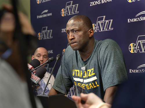 Scott Sommerdorf   |  The Salt Lake Tribune Utah Jazz head coach Ty Corbin speaks to the media on the day the Jazz clean out their lockers after a disappointing 25-57 season, Thursday, April 17, 2014.
