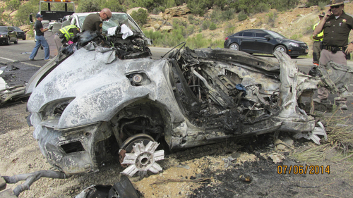 | Courtesy Utah Highway Patrol  Six people died in a car accident near Monticello over the July Fourth weekend. Nine people total died over the weekend, which is historically the most fatal holiday weekend in Utah.