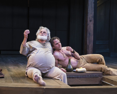 "Photo by Karl Hugh/Utah Shakespeare Festival 2014  Henry Woronicz (left) as Sir John Falstaff and Sam Ashdown as Prince Hal in the Utah Shakespeare Festival's 2014 production of ""Henry IV Part One."""
