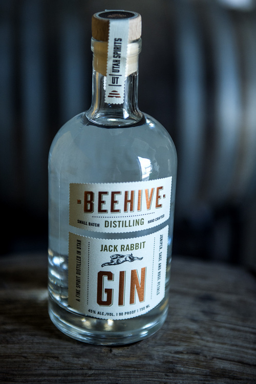 Chris Detrick  |  The Salt Lake Tribune A bottle of Jack Rabbit Gin at Beehive Distilling, 1745 S. Milestone, Wednesday June 25, 2014. Beehive distills Jack Rabbit Gin, which is available to purchase at the State Liquor Stores.