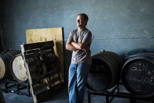 Chris Detrick  |  The Salt Lake Tribune Head distiller Chris Barlow stands by gin that is aging in re-charred French chardonnay barrels at Beehive Distilling, 1745 S. Milestone (3000 West), Wednesday June 25, 2014. Beehive distills Jack Rabbit Gin, which is available to purchase at the State Liquor Stores.