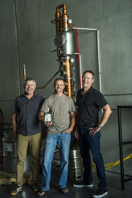 Chris Detrick  |  The Salt Lake Tribune Partners Matt Aller, Chris Barlow and Erik Ostling at Beehive Distilling, 1745 S. Milestone (3000 West), Wednesday June 25, 2014. Beehive distills Jack Rabbit Gin, which is available to purchase at the State Liquor Stores.