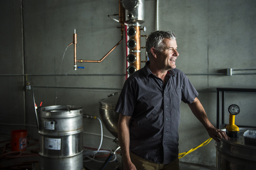 Chris Detrick     The Salt Lake Tribune Partner Matt Aller at Beehive Distilling, 1745 S. Milestone, Wednesday June 25, 2014. Beehive distills Jack Rabbit Gin, which is available to purchase at the State Liquor Stores.