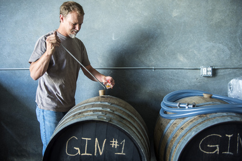 Chris Detrick  |  The Salt Lake Tribune Head distiller Chris Barlow takes a sample of gin that is aging in re-charred French chardonnay barrels at Beehive Distilling, 1745 S. Milestone (3000 West), Wednesday June 25, 2014. Beehive distills Jack Rabbit Gin, which is available to purchase at the State Liquor Stores.