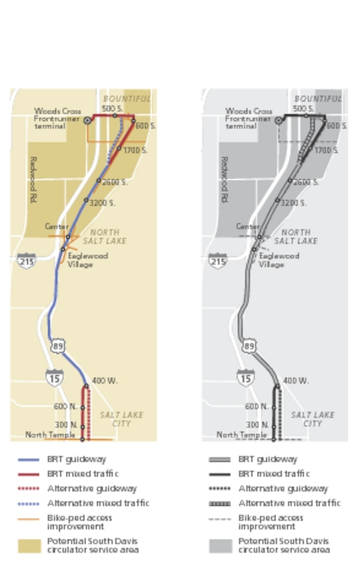 SLC-Bountiful rapid transit takes step forward Davis County officials approve preferred route for new 'Bus Rapid Transit' line.
