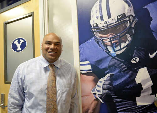 Al Hartmann  |  The Salt Lake Tribune  Fui Vakapuna is a former NFL player who now works in BYU's athletic department helping student athletes adapt from high school to college life, school and athletics. Photo at right is an imposing figure of his football playing days at BYU.
