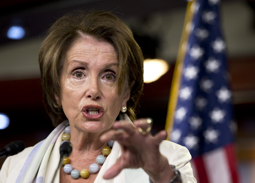 House Minority Leader Nancy Pelosi of Calif. gestures as she speaks during a news conference on Capitol Hill in Washington, Thursday, July 10, 2014.  (AP Photo/Manuel Balce Ceneta)