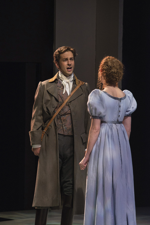 "Karl Hugh | Utah Shakespeare Festival 2014  Quinn Mattfeld (left) as Edward Ferrars and Cassandra Bissell as Elinor Dashwood in the Utah Shakespeare Festival's 2014 production of ""Sense and Sensibility."""